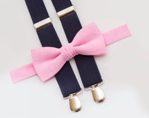 Light Pink Bow Tie And Navy Blue Suspenders Birthday Boys Outfit Toddler Bow Ties Party