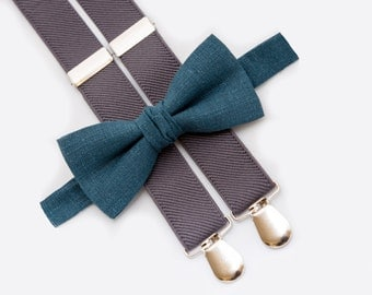 Teal Bow Tie and Gray Suspenders Dark Green Bow Ties For Boys Matching Set Newborn Outfit For Birthday