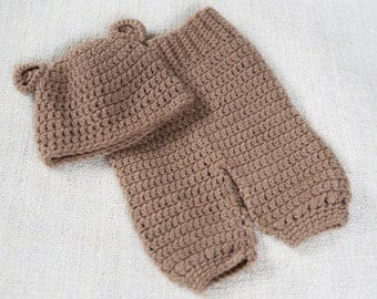 Little bear crochet set - newborn photo prop MADE TO ORDER