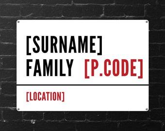 Personalised Family Street Sign (Regular + Large)