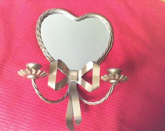 Vintage wall Sconce, candle holder, wall decor , metal,Mirror, twisted metal rope