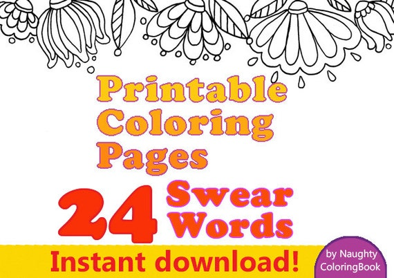 Adult Coloring Pages Swear Words Instant Download Swear
