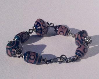 "Beaded bracelet ""Silk Rout"" - plum & blue"
