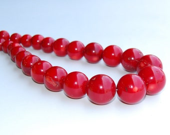 Graduated Smooth Red Bamboo Coral Loose Beads 13-23mm.R-S-COR-0346