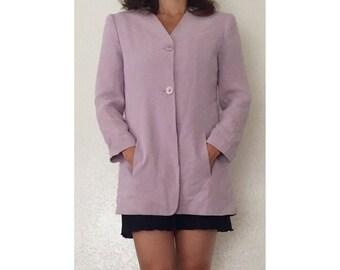 Vintage Blush Orchid Silk Blazer • Queen's Pink Jones New York Acetate Lining Jacket • Size 6
