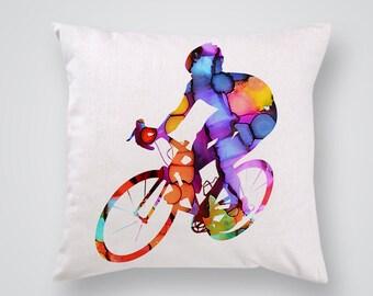 Bicycler Decorative Pillow  - Art Pillow Cover - Throw Pillow - Home Decor