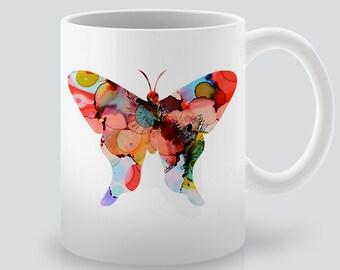 Watercolor Butterfly Mug -  Coffee Cup - Tea Mug - Ceramic Mug - Colorful Illustration - Gift for Friend