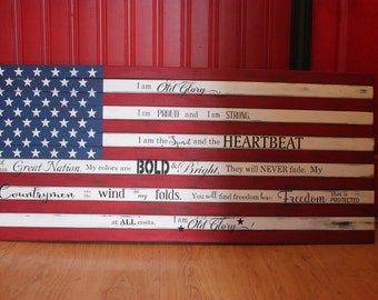 American Flag Pallet  Art Sign Wall Decor Old Glory Patriotic Wood Sign
