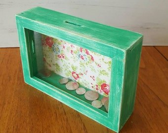 Shabby chic money box in green and floral pattern