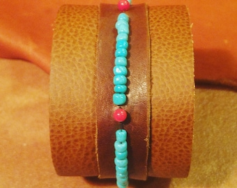 Turquoise and Coral Howlite Leather Cuff