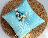 Ring Bearer Pillow, aqua, blue, blue flower, spring, summer, wedding, bride, shinny ribbon, white ribbon, flower lace, white tulle pillow