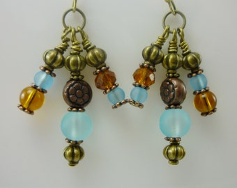 Golden Amber and Aqua Glass Beads with Copper and Bronze Earrings