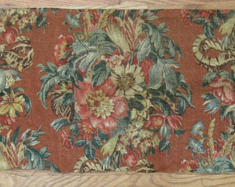Antique Beautiful 1930s American or English Printed Floral Linen (9940)
