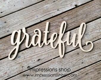 grateful wooden cutout