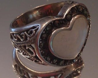 Sterling Silver, Marcasite & Mother of Pearl Heart Ring