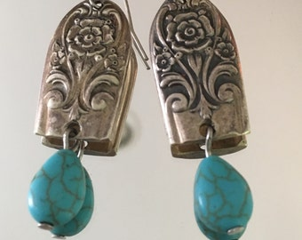 Silver Spoon Earrings with Turquoise