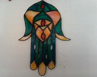 Hamsa in glazing glass Spectrume work Main.Pour Bonheure Aknown Religion