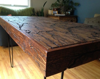 Rustic Hairpin Leg Table, Fractal Table Top