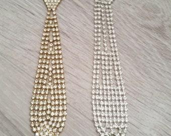 Choose Your Colour, Tie Style Diamante Gold or Silver Necklaces. Fashion Jewellery, Bling, Stylists, Unique