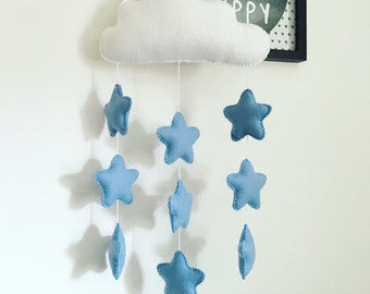 Cloud mobile wall hanging with nine blue or pink stars