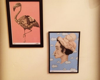 Flamingo in wonderland and Head in clouds prints. A4. Price per print