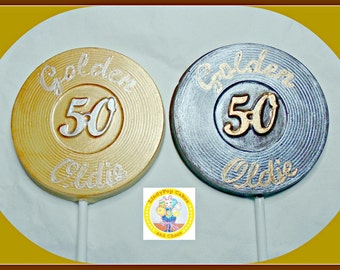 50th Birthday Chocolate Lollipops/Male 50th/Female 50th/Fifty/Chocolate Lollipop/Special Birthday/Golden Oldie/Age Lollipop/Number Lollipop