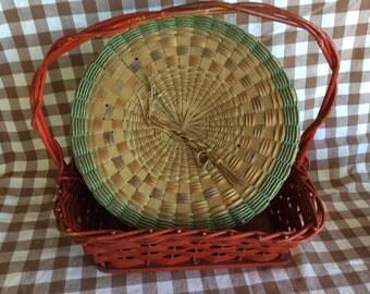 Vintage Indian Native splint basket sweet grass hand woven Micmac Mohawk