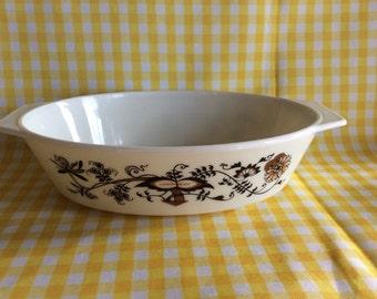 Vintage Pyrex England oval baking dish Old Time Blue pattern compatibles line