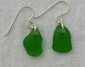 Sweet and Simple Beach Found Green Sea Glass Earrings