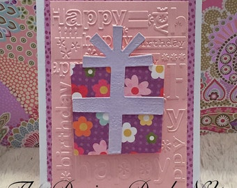 Beautiful Embossed Happy Birthday Card