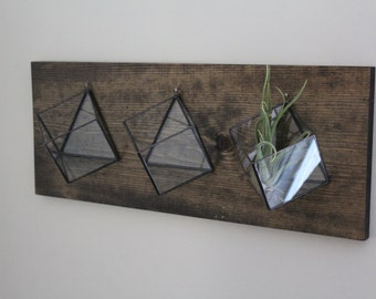 Set Of 3 Hanging Planters Geometric Wall Mounted Pot Air Plant Succulent Holder Stained Glass Terrarium Indoor Planter Vertical Garden