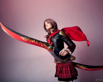 Rem Tokimiya cosplay costume with swords from Square Enix videogame Final Fantasy Type-0