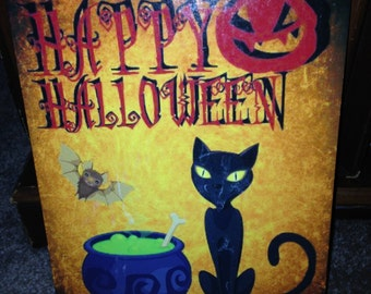"Happy Halloween metal sign with black cat, UV protected! 8""x12"""