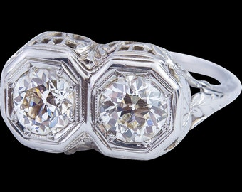 Edwardian Filigree Diamond Ring set in 14 Karat Gold