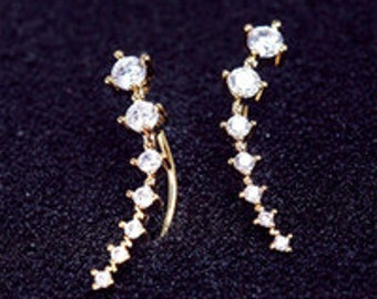 Silver and Gold Plate studded Earrings