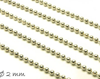 Ball chain platinum silver, fine, 2 mm balls