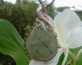 wire wapping prehnite pendant