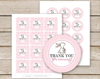 Pink Bunny Favor Tags Thank You - Printable Download - Pink Bunny Baby Shower Thank You Tags