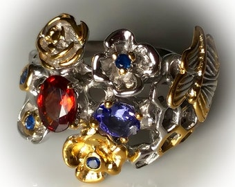 Butterfly Tanzanite Garnet Sapphire Artisan Ring! 14kt Gold over Sterling Silver size 9.5