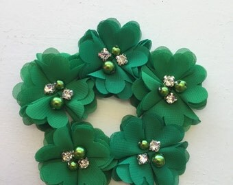 """2.5"""" Green Chiffon Flower with Pearl and Rhinestone Center set of 5"""