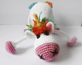 Plush blankie Unicorn rainbow amigurumi crochet