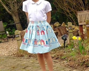 Girls skirt, blue, beach hut, elastic waist