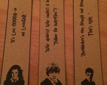Harry Potter Bookmarks - Ron, Harry and Hermione. Great Gift. Set of 3.