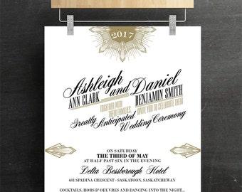 Gatsby Wedding Invitation, Bridal Invitation, Batcherette, Printable, DIY