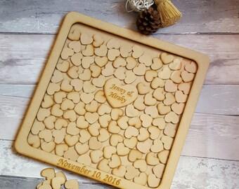 Wedding Drop Box frame, Wedding Guest Book Alternative, Heart Drop Box Frame, Handmade Personalized Wooden Hearts Drop Box Frame