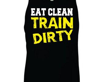 Motivashirts Eat Clean Train Dirty Men's Gym Tank Top