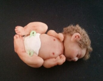Hand-made OOAK Baby Polymer Clay Doll Figurine full Sculpture with Crib