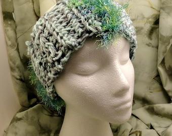 Crocheted Headband With Eyelash Yarn