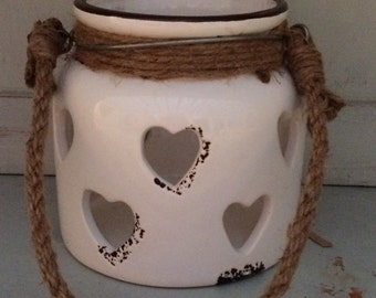Ceramic Candle Holder With Heart Design