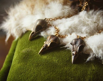 Nevermore collection: Raven skull necklace